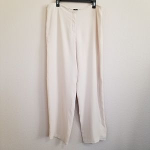 NWT Eileen Fisher Silk Wide Luxe Trouser Pants L